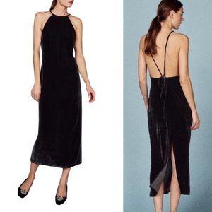 Reformation Black Velvet Irving Open Back Dress